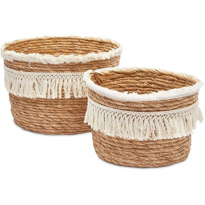 Okuna Outpost 2-Pack Boho Style Woven Baskets for Storage, Home Decorative Organizer (2 Sizes)