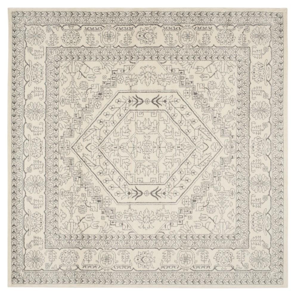 Ivory/Silver Medallion Loomed Square Area Rug 9'X9' - Safavieh