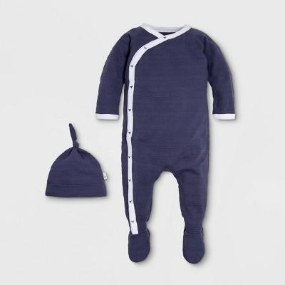 Burt's Bees Baby® Baby Boys' Organic Cotton Jacquard Stripe Kimono Coverall with a Hat Pajama Jumpsuit - Navy 3-6M