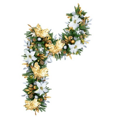 Easy Treezy Indoor Artificial 6 Foot Pre Lit Decorated Holiday Christmas Garland with White Lights, Poinsettia Flowers, Ornaments, and Pine Cones