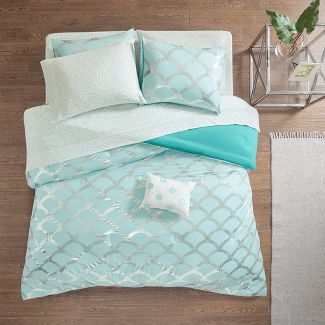 6pc Twin Janelle Comforter and Sheet Set Aqua