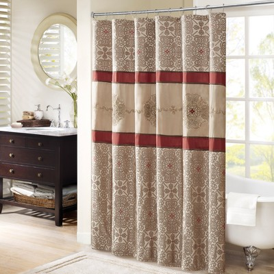 Perry Embroidered Shower Curtain Red