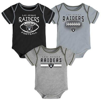 NFL Las Vegas Raiders Baby Boys' Bodysuit Set 3pk - 12M