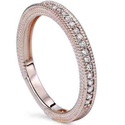 Pompeii3 VS 1/5ct Vintage Diamond Wedding Milgrain Ring 14K Rose Gold