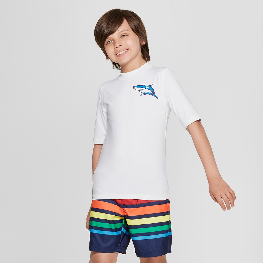 Boys' Short Sleeve Shark Graphic Rash Guard - Cat & Jack White L