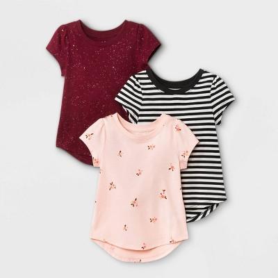 Toddler Girls' 3pk Floral Sparkle Striped Short Sleeve T-Shirt - Cat & Jack™ Black/Burgundy/Pink