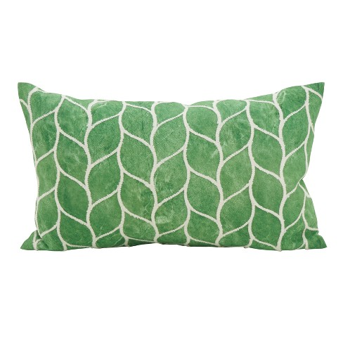 "Saro Lifestyle 12""x20"" Embroidered Lush Leaf Down Filled Throw Pillow Green - image 1 of 3"
