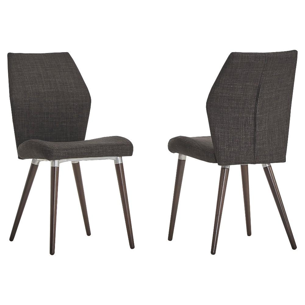 Compare Set of 2 Winona Espresso Mid Century Angled Chair Charcoal - Inspire Q