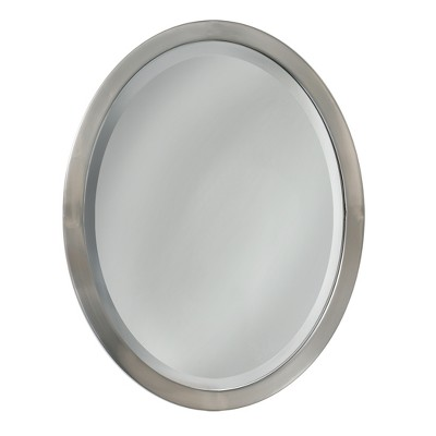 Head West 23  x 29  Brush Nickel Oval Mirror