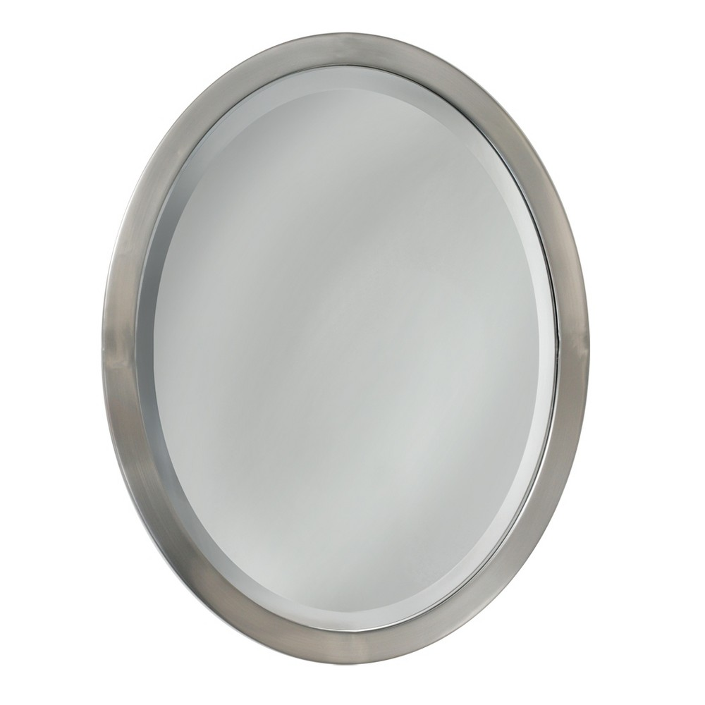 "Image of ""Head West 23"""" x 29"""" Brush Nickel Oval Mirror"""