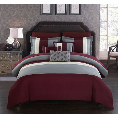 Queen 10pc Hester Bed In A Bag Comforter Set Burgundy - Chic Home Design