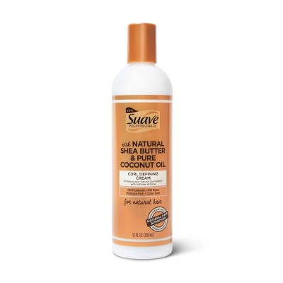 Suave Professionals for Natural Hair Curl Defining Cream for Wavy to Curly Hair Shea Butter and Coconut Oil - 12 fl oz