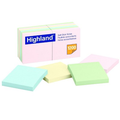 Highland Self-Stick Notes, 3 x 3 Inches, Pastel Colors, Pad of 100 Sheets, pk of 12