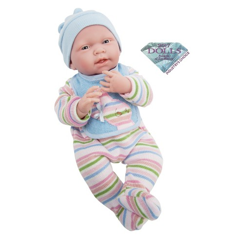"JC Toys La Newborn Real Boy 15"" Baby Doll - All-Vinyl - Light Blue Striped Knitted Pajama with Bib - image 1 of 3"
