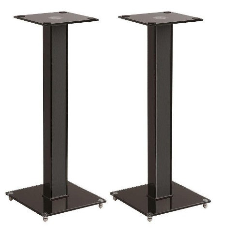 Monoprice Elements Speaker Stand - 28 Inch (Pair) With Cable Management, Strong Tempered Glass Base With Floor Spikes - image 1 of 4