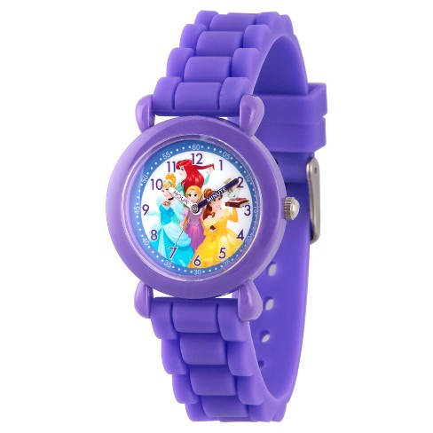 Disney Princess Ariel, Belle, Rapunzel, Cinderella Girls' Purple Plastic Time Teacher Watch, Purple Silicone Strap, WDS000148 - image 1 of 2