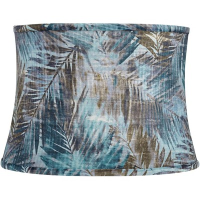 Springcrest Blue Velvet Palm Leaf Drum Lamp Shade 14x16x11.5 (Spider)