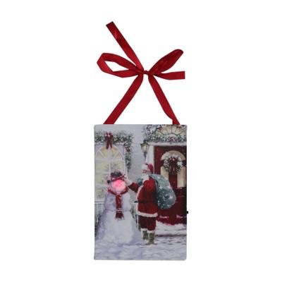 "Northlight 6"" LED Lighted Fiber Optic Santa and Snowman Christmas Wall Art Decoration"