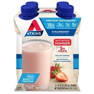 Atkins Protein Shake - Strawberry - 11oz/4pk Bottles