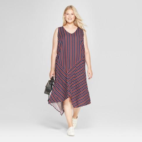 Womens Plus Size Striped Sleeveless Dress With Asymmetrical Hem