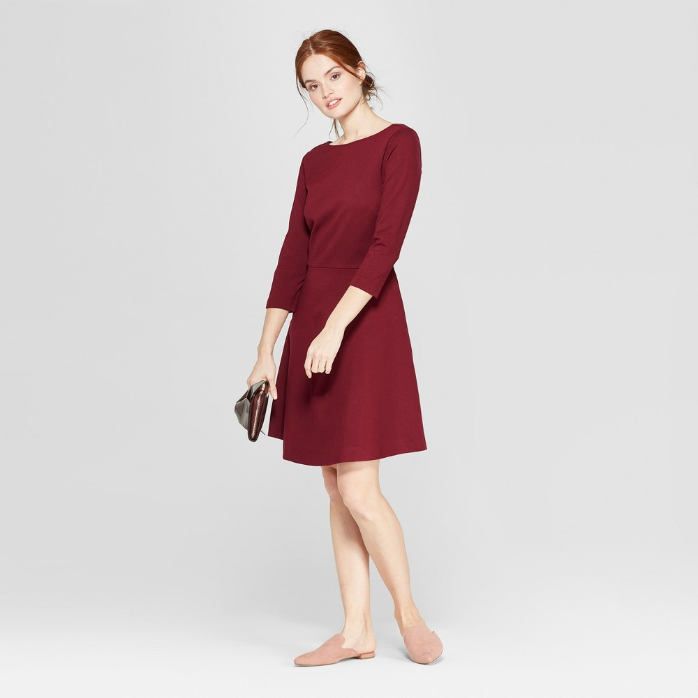 Women's Relaxed Fit 3/4 Sleeve Crew Neck A-Line Ponte Dress - A New Day Burgundy (Red) XS