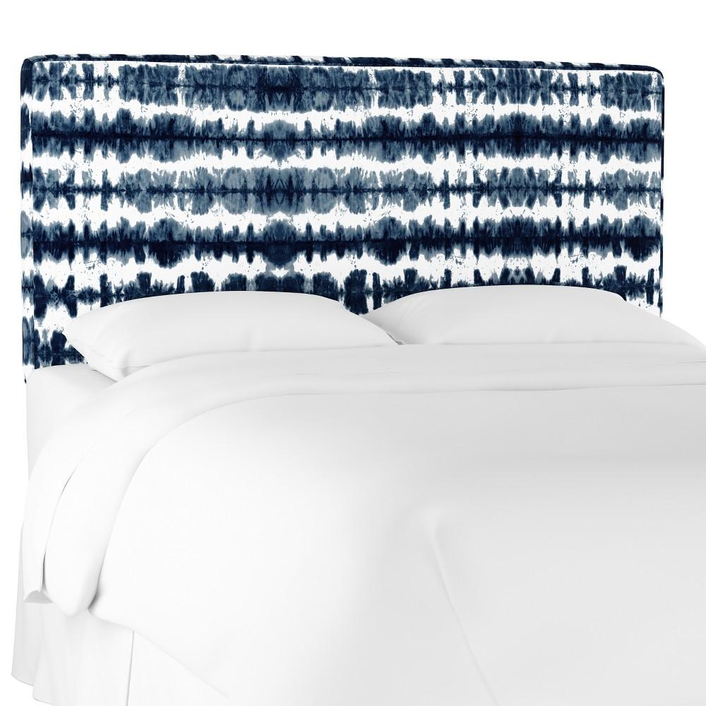 King Harper Box Seam Headboard Navy/White Stripe (Blue/White Stripe) - Cloth & Co.