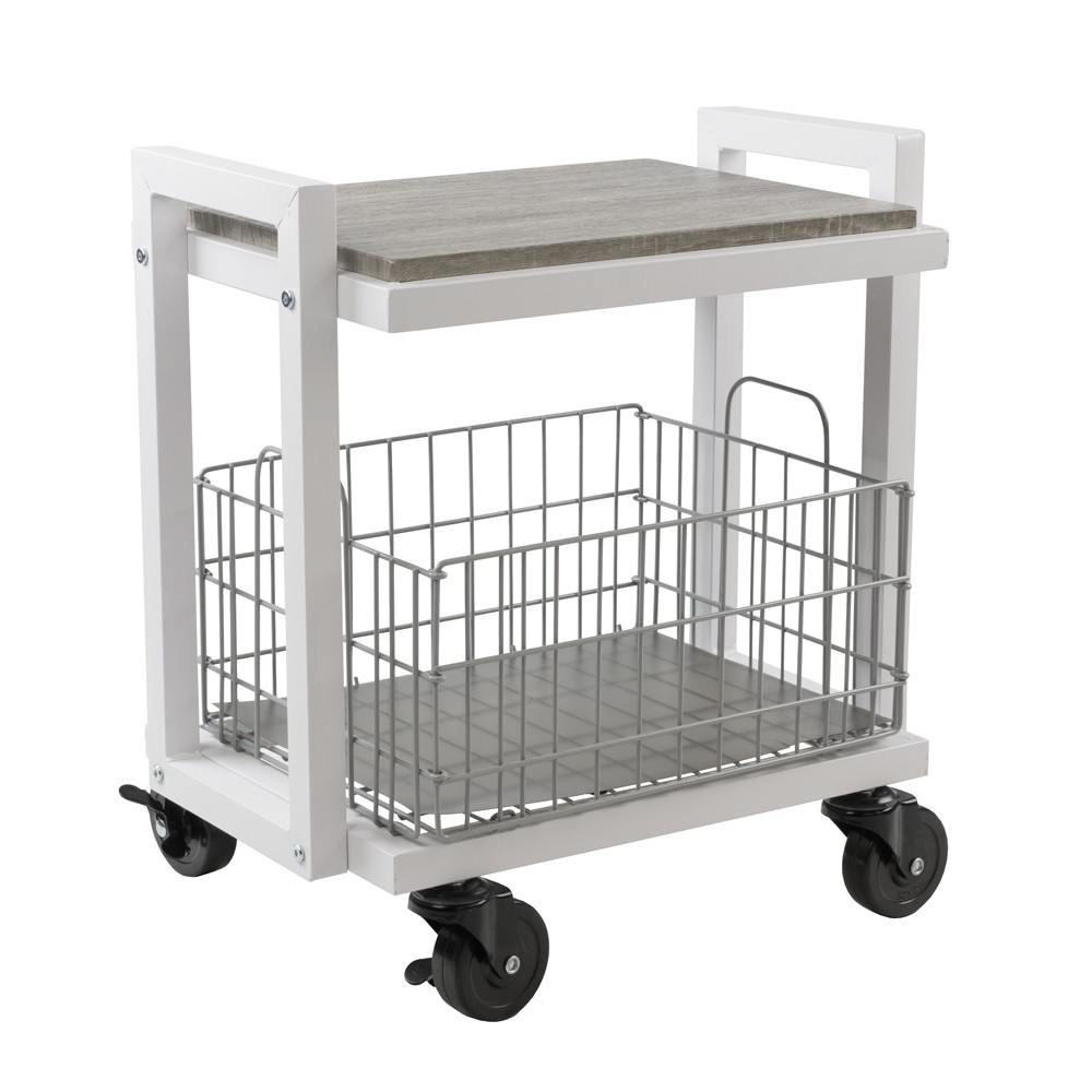 Image of Cart System with wheels 2 Tier White - Urb Space