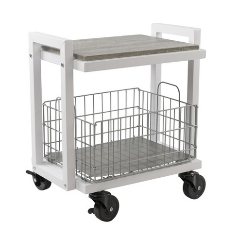Cart System with wheels 2 Tier White - Urb Space