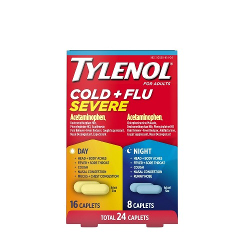 Tylenol Cold+Flu Severe Day/Night Caplets - Acetaminophen - 24ct - image 1 of 4