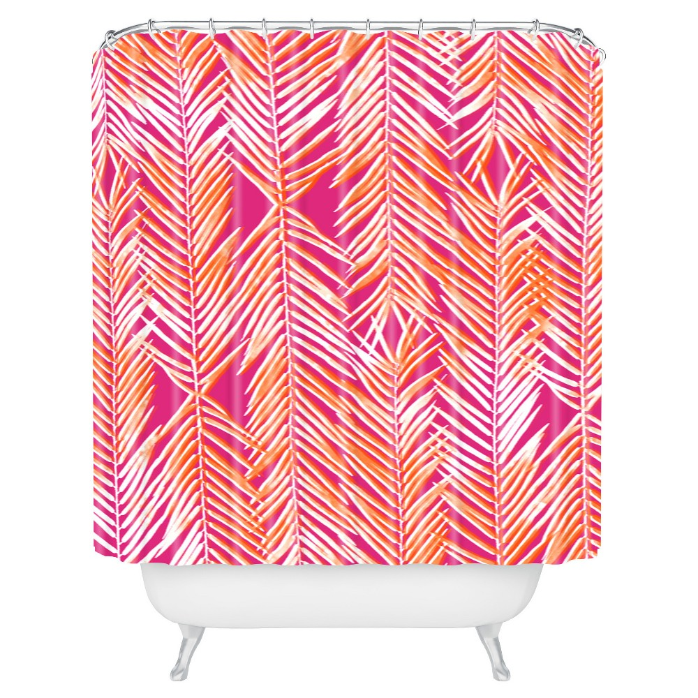 Image of Leaf Geranium Shower Curtain Pink - Deny Designs, Geranium Pink