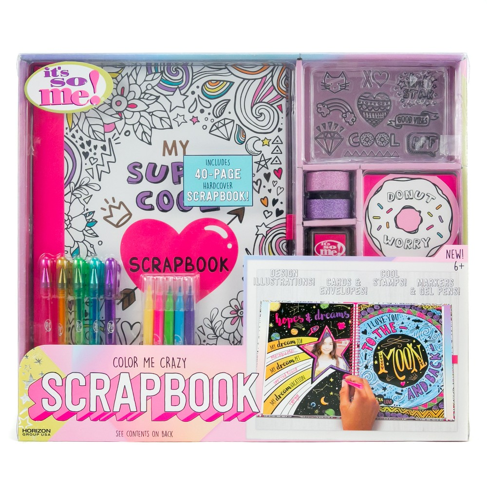 It's So Me! Color Me Crazy Scrapbook, Multi-Colored The It's So Me! Color Me Crazy Scrapbook comes with all of the supplies you'll need to have a blast creating your very own hand made scrapbook. Get creative with the fun craft supplies. Color: Multi-Colored.