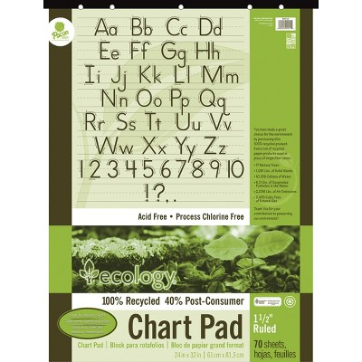 Ecology Recycled Chart Pad, 1-1/2 Inch Ruled, 32 x 24 Inches, 70 Sheets