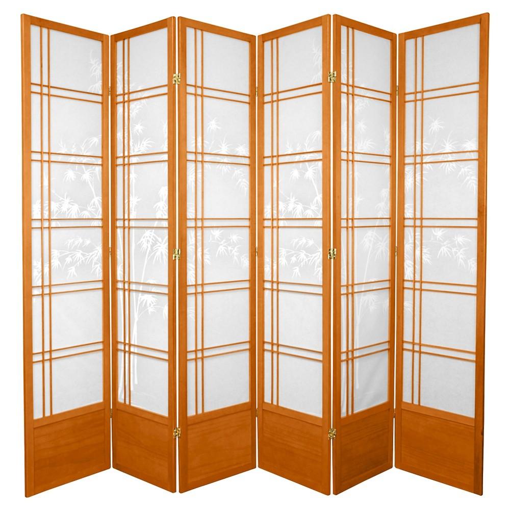 7 ft. Tall Bamboo Tree Shoji Screen - Honey (6 Panels), Pumpkin