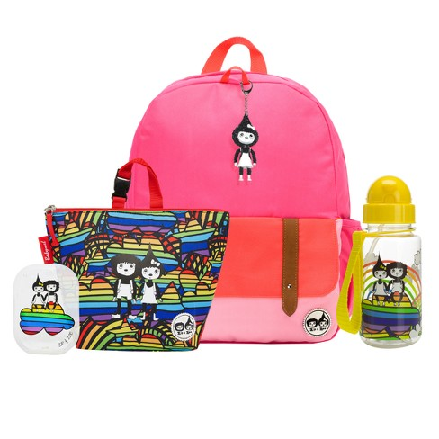 """Zip & Zoe Junior 15"""" Kids' Backpack with Lunch Bag and Water Bottle - Pink Color Block/Rainbow - image 1 of 4"""