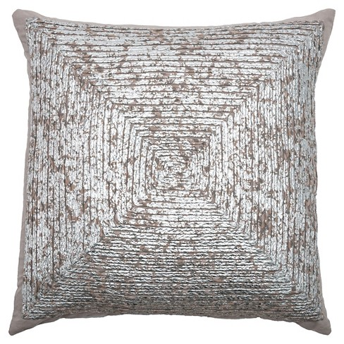 Silver/Gray Cotton with Metallic Throw Pillow - Rizzy Home - image 1 of 1