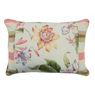 Floral Stripe Laurel Springs Pieced Throw Pillow - Waverly