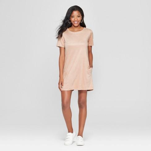 0b3137d1790 Women s Short Sleeve Suede Shift Dress - Soul Cake (Juniors ) Blush ...