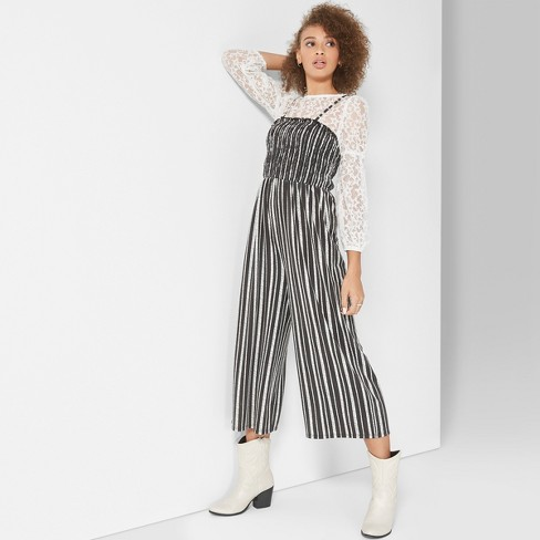 61276fa8ba Women s Striped Strappy Knit Smocked Top Jumpsuit - Wild Fable™ Black White  XL   Target