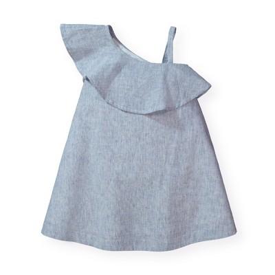 Hope & Henry Girls' One Shoulder Flounce Dress, Kids