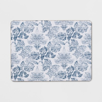 12 x16  Floral Damask Cork Placemat Blue - Threshold™