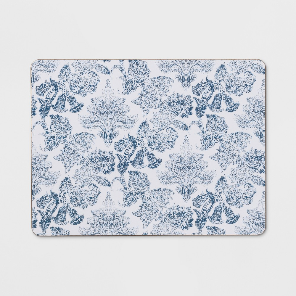 "Image of ""12""""x16"""" Floral Damask Cork Placemat Blue - Threshold , White Blue"""