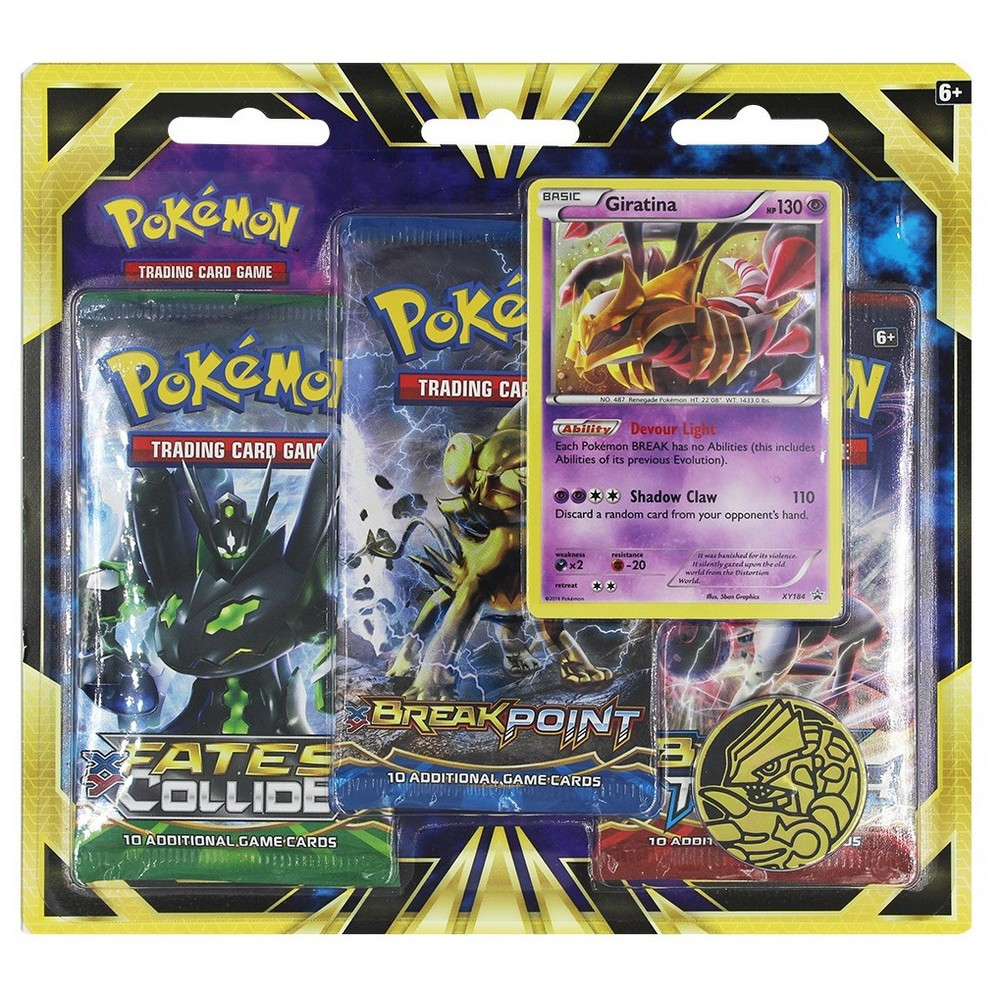 2016 Pokemon Trading Card Game 3 Pack Blister featuring Giratina Give your collection a boost! Power up your Pokemon Trading Card Game collection with a never-before-seen foil promo card featuring the Legendary Pokemon Giratina, plus three awesome Pokemon Trading Card Game booster packs! You'll also get a cool Pokemon coin to add to your collection and a code card for the Pokemon Trading Card online! Gender: Unisex.