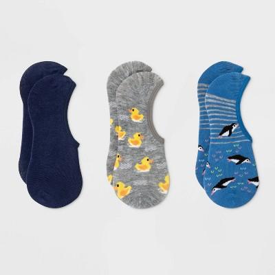Women's Rubber Ducky And Penguin 3pk Liner Socks - Xhilaration™ Gray/Blue 4-10