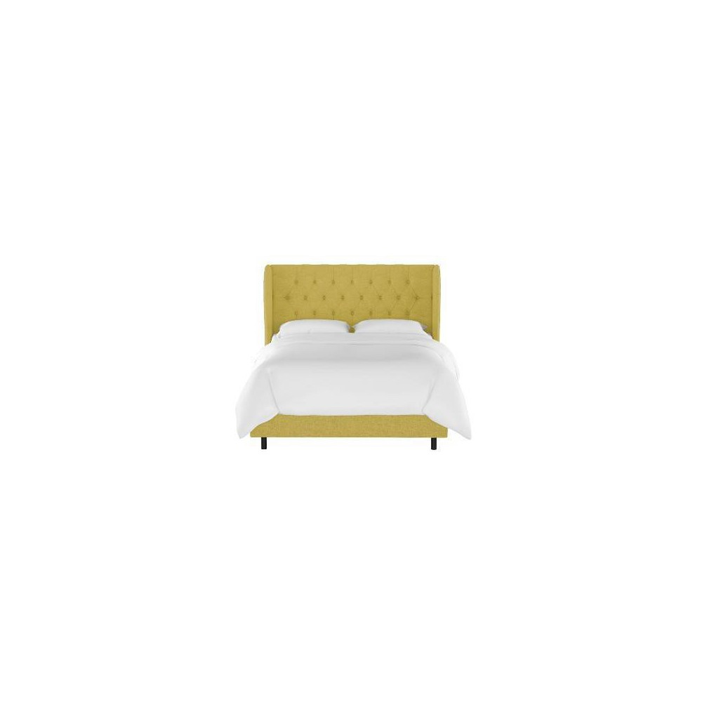 Queen Tufted Wingback Bed Golden Yellow Linen - Threshold