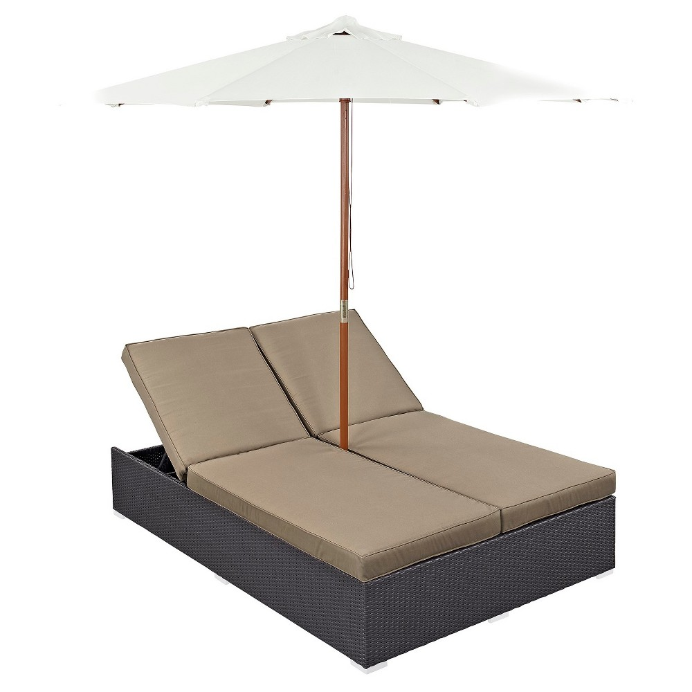 Convene 2pc All-Weather Wicker Double Patio Chaise w/Umbrella - Espresso Mocha (Brown) - Modway