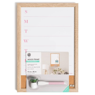 """U Brands 11""""x16"""" Dry Erase Wood Frame Weekly Planner with Cork Strip and Marker"""