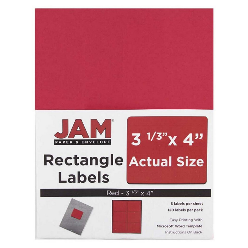 Jam Paper Mailing Labels 3 1/3 x 4 120ct - Red