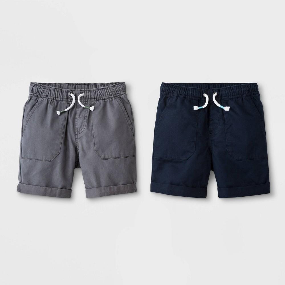Toddler Boys' 2pk Solid Pull-On Shorts - Cat & Jack Gray/Navy 3T