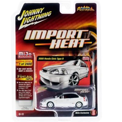 2000 Honda Civic Type R White w/White Wheels & Red Interior Ltd Ed 2400 pcs 1/64 Diecast Model Car by Johnny Lightning
