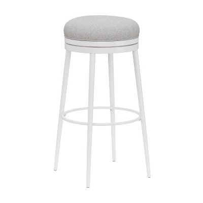 "Aubrie Backless 30"" Swivel Barstool Off White/Silver - Hillsdale Furniture"